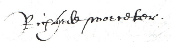 Richard Worcester signature 1608